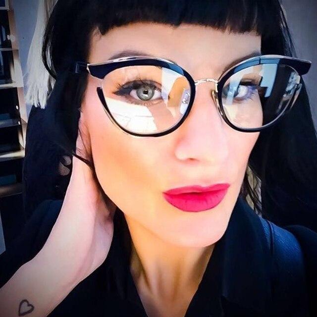 deac8c18f ANEDF جديد القط العين نظارات إطار النساء الكمبيوتر البصرية إطار مشهد النساء  شفافة واضحة عدسة الإناث Oculos دي نظارات
