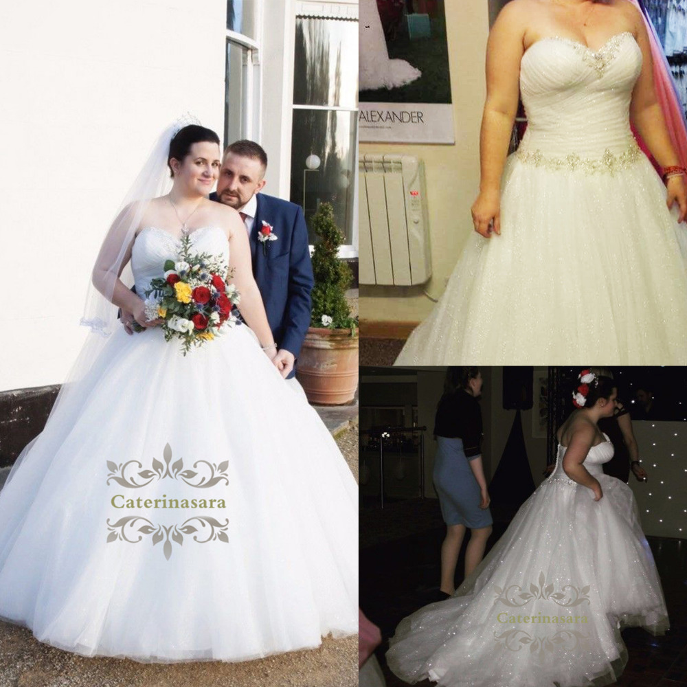 Shiny Crystals Plus Size Wedding Dresses Ruffled Long Beaded Wedding Ball Gown Sweetheart Tulle Bridal Dress For Women