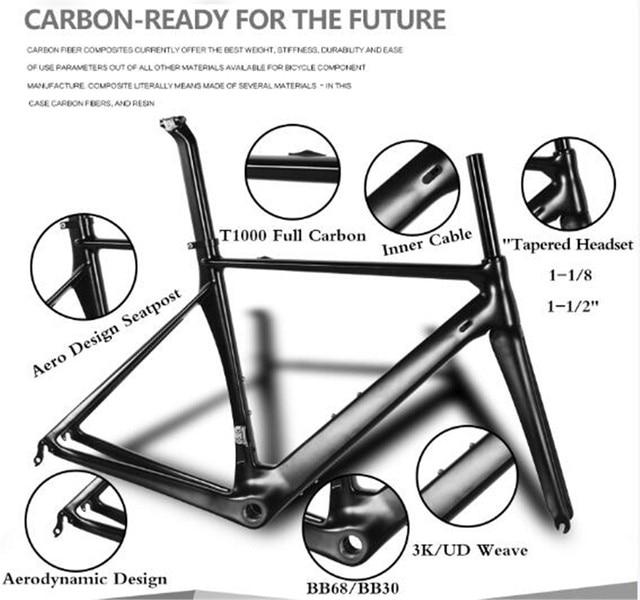 Matt/glossy Carbon road frame sizes 48/51/54/57/59 Carbon road bike ...