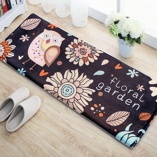Cartoon Owl Carpet 45 120cm Kitchen Mat Home Entrance Doormat Bathroom Non Slip Flannel