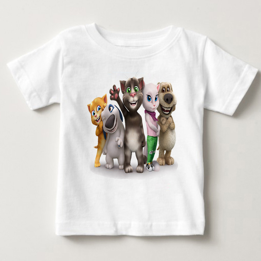 Cartoon printed children summer cotton T-shirt talking cat game boy/girl tops breathable comfort TShirt Funny Cartoon tops MJ 1