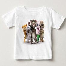 Cartoon printed children summer cotton T-shirt talking cat game boy/girl tops breathable comfort TShirt Funny MJ