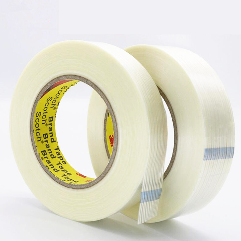 50M Transparent Striped Fiber Tape Refrigerator Air Conditioning Binding Tape Strong High Viscosity Ultra-thin  Fixing Glue