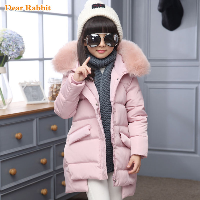 Best Price 2018 Fashion Girl winter down Jackets Children Coats warm baby 100% thick duck Down Kids Outerwears for cold -30 degree jacket