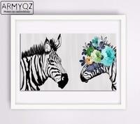 ARMYQZ Full Round Animals Diamond Embroidery Zebra Horse Art Diamond Painting Complete Cross Stitch Diamond Mosaic