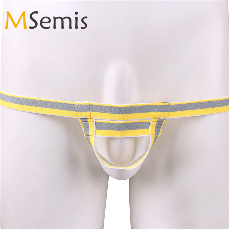 Mens Bandage Ball Lifter Booster Underwear With Enhancing Ring Straps Sexy Mens Bandage G-string Briefs With Penis Hole Panties