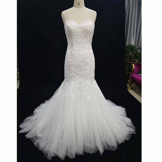 Mermaid Lace Wedding Dress Large Size Sweetheart Brida  Gowns Real Photos  Taken By Mobile Phone Only One Piece In Store 07f3281bcaa2