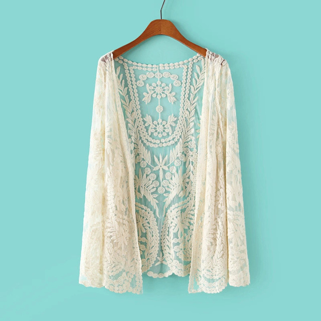 Online Shop Floral White Kimono Hippie Crochet Cardigan 2015 Boho ...
