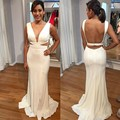 White Party Evening Dress V_neck Backless Cut Out Waist Sexy Vestidos Largos Side Slit Mermaid Robe De Soiree