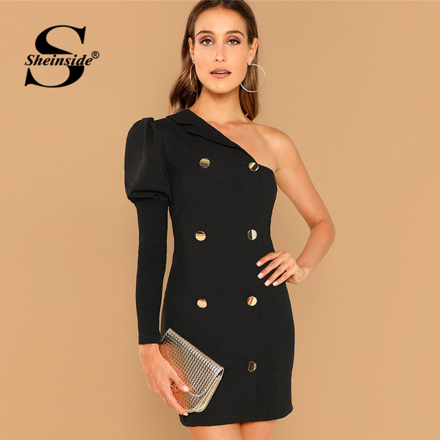 5c98f49f72 Sheinside Black Double Breasted One Shoulder Dress Women Clothes 2018 Puff  Sleeve Slim Party Dresses Elegant Sheath Autumn Dress
