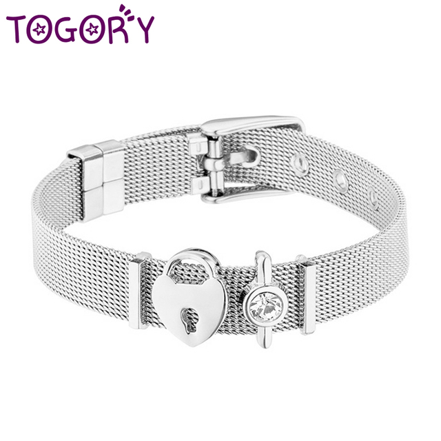 414d7e14917b1 US $0.99 25% OFF|High Quality Stainless Steel Mesh Bracelet Heart Charms  Fine Bracelet for European Woman Men Valentine's Day Gifts Wholesale-in  Charm ...