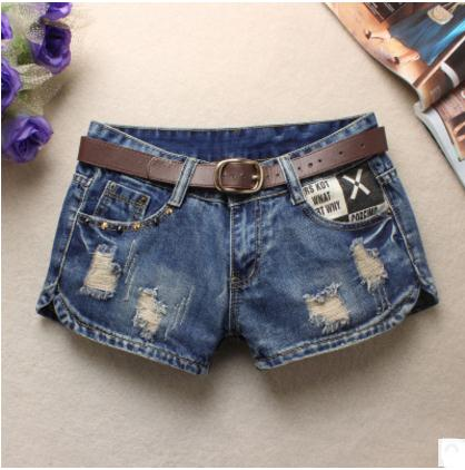 2019 Summer Women'S Hole Denim Shorts Beggars Shorts Jean Low Waist Shorts Without Belt Printing  Emale Slim Denim Short J2304