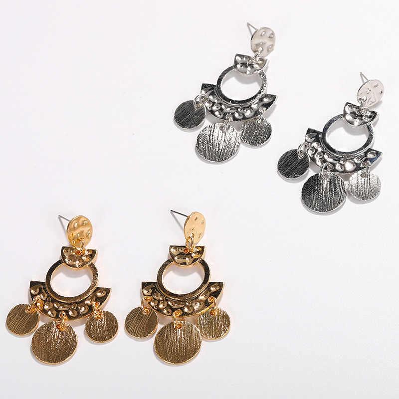 GEREIT 2019 ZA Women Jewelry Gold Silver Color Geometric Round Tassels Drop Earrings For Women Girls Vintage Fashion Jewelry Hot