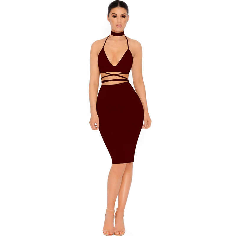 ... Sexy Sparkly Bandage Bodycon Dresses 2018 Halter Deep V Neck Lace Up  Crop Top Two Piece ...
