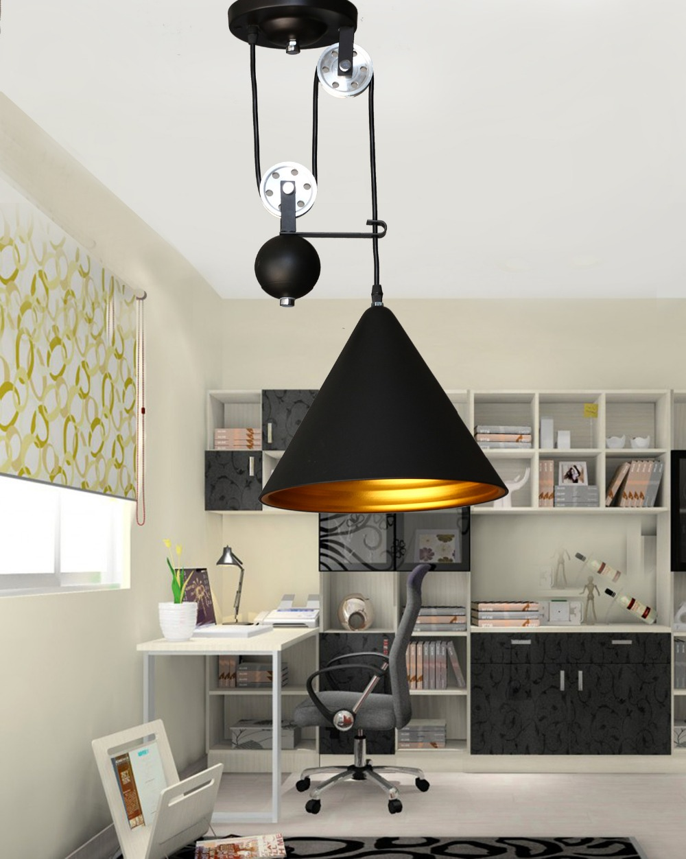 Industrial Style Retro Pulley Spindle Lift Pendant Lights Black Aluminum  Iron Cone Shape Lampshade Antique Edison Pendant Lamps In Pendant Lights  From ...