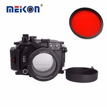 Meikon Underwater Cases & Housings-G7XII DF 40M/130F waterproof camera case for Canon G7XII DSLR Camera Bags With Red Filter square resin full color filter for dslr red