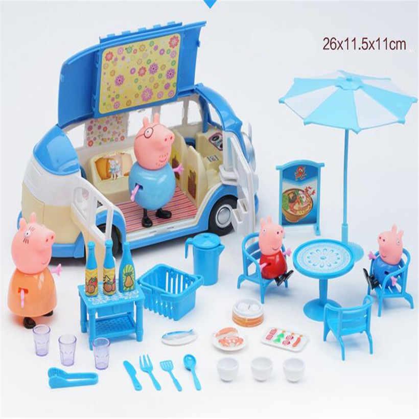 Peppa Pig série éducative enfants jouets mode luxe Villa voiture de sport famille rôles complets poupée Action Figure modèle enfants cadeaux