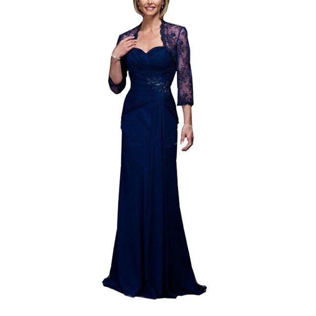 Длинные Женщины Вечернее Платье с Болеро Королевский Синий Шифон Мать Невесты Платье На Заказ Размер
