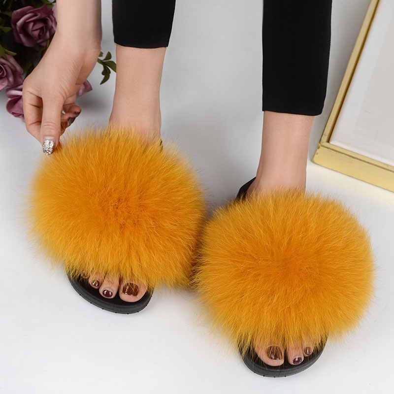 Verdadeira Pele De Raposa Cabelo Real Fofo Slides Plus Size Verão 2019 Do Dedo Do Pé Aberto Chinelos Casual Deslizamento Preto Em Chinelos sapatos peludos
