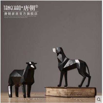 creative resin dog and sheep figurines vintage statue home decor crafts room decoration objects ornament resin animal figurines in Statues Sculptures from Home Garden