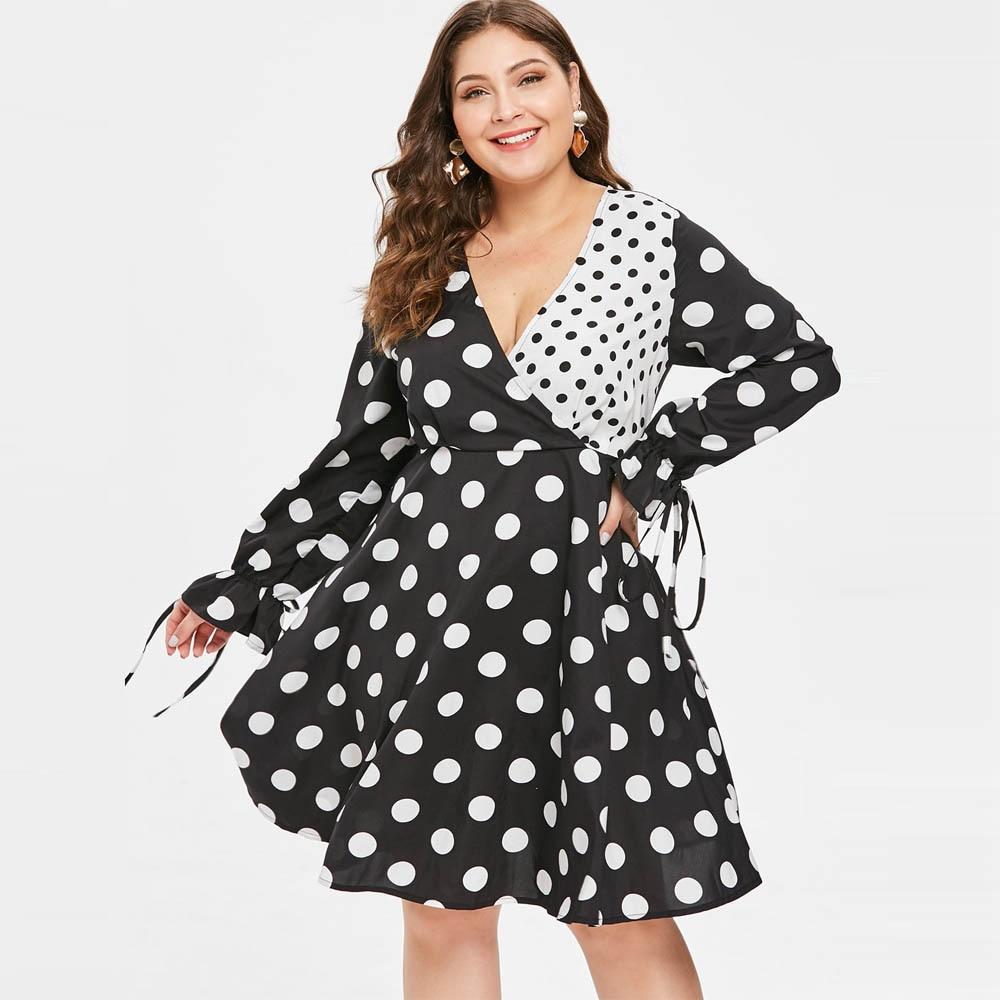 b3313d77f46 Kenancy Plus Size Polka Dot Print Women Vintage Dress V Neck Long Sleeves  High Waist Rockabilly