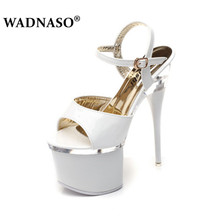 WADNASO Summer New Car Models Shoes Women High Heel Peep Toe Sandals 18cm Thick the Bottom Waterproof 8.5cm Nightclub Shoe 34-43