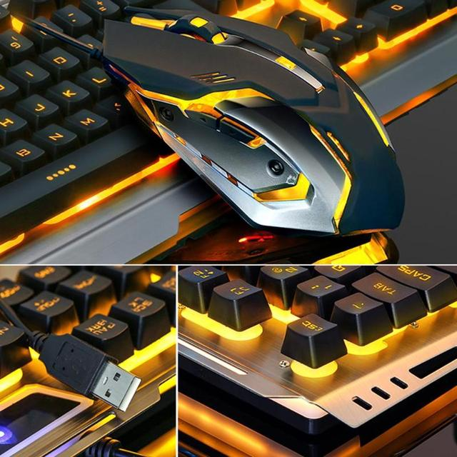 VKTECH 104 keys Gaming Mechanical Keyboard Mouse Set USB Wired Ergonomic RGB Backlight Keyboard Mice Combo For Laptop Desktop PC 3