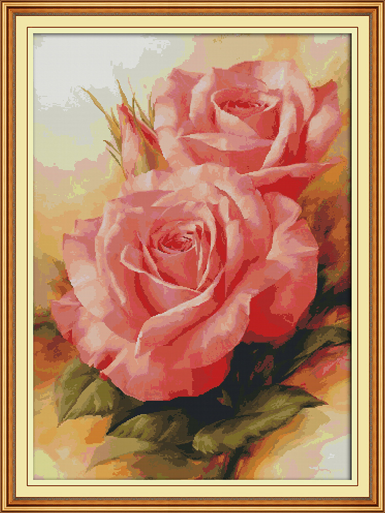 Pink Rose Cross Stitch Kit Aida 14ct 11ct Count Print Canvas Cross Stitches   Needlework Embroidery DIY Handmade