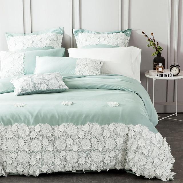 Elegant Egyptian Cotton Lace Princess Designer Bedding Set Queen King Size Girls Bed  Sheet Set Duvet Cover