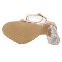 DiJiGirls Ankle Cross Straps Crystal Heel Gold Sandals Womne Block Square High Heels Summer Sandals Shoes Narrowband Sandalias