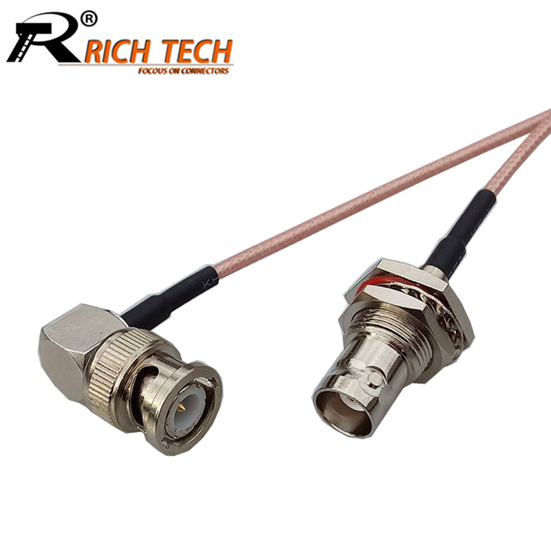 10pcs/lot BNC Female to Right Angle BNC Male Plug Connector RF Coaxial RG316 Cable BNC to BNC RF Coaxial Cable 15cm/50cm/100cm high quality 10 pcs x bnc female nut bulkhead solder rf connector adapters