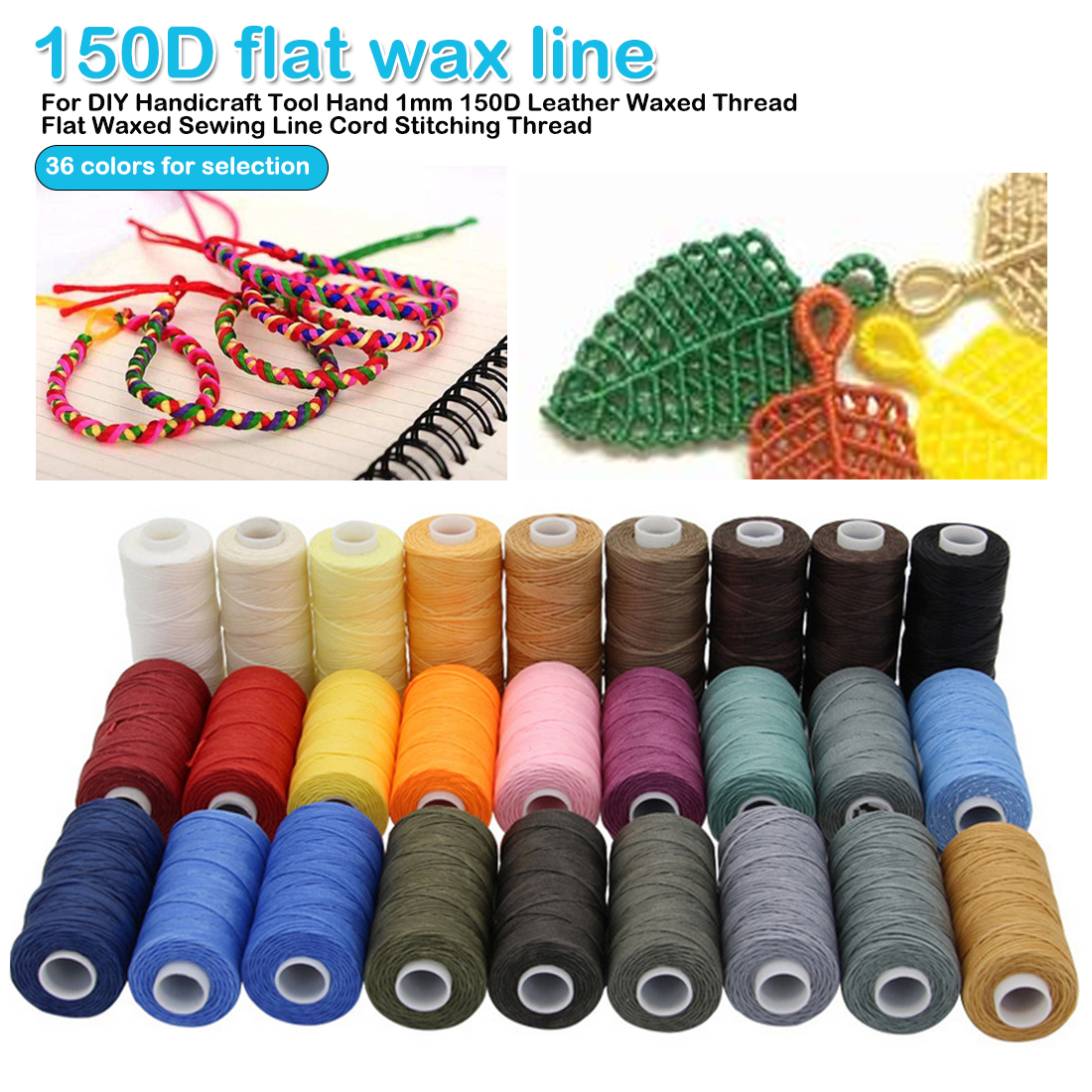 400M 0.55mm Round Waxed Thread Cord Leather Sewing Hand Stitching Jewelry Craft