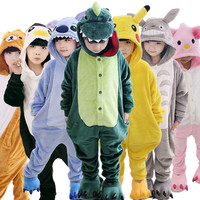 Children Pajamas Winter Flannel Animal Pajamas One Piece Stitch Panda Dinosaur Pikachu BABy Boys Girls Pyjamas