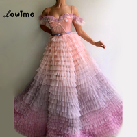 Ice Tiered Skirt Off The Shoulder Party Dress Amazing Evening Gown 2018 Vestidos Abiye Tulle Long Prom Dresses Abendkleider