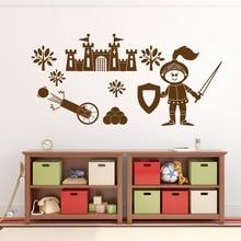 Free Shipping DIY Fort Castle Wall Sticker Medieval Knight Art Decal Transfer Nursery Boy Bedroom Decals