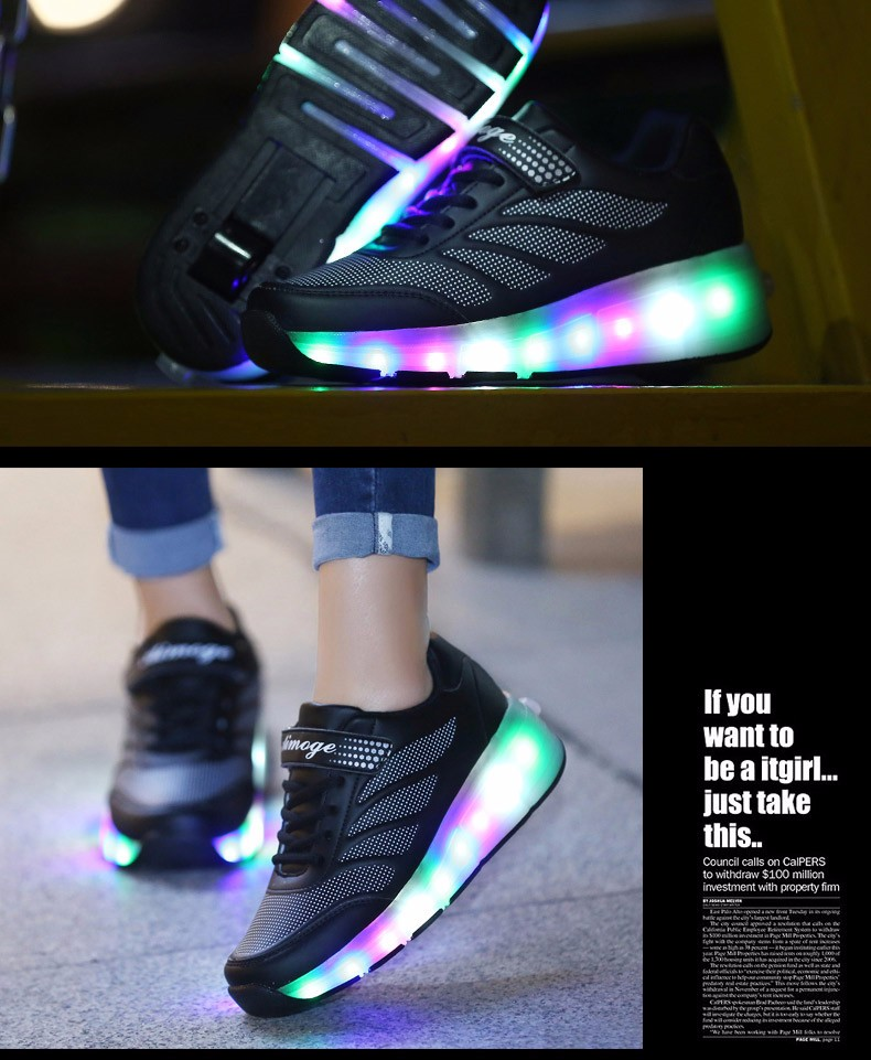 tenis de led infanti Kids Roller Shoes Boys Girls Light Up Glowing Sneakers with Wheels High Quality Popular 6