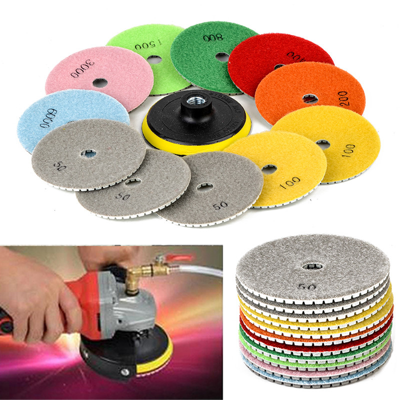 купить 12Pcs 4inch Wet/Dry Diamond Polishing Pads For Granite Stone Concrete Marble Polishing Tools недорого