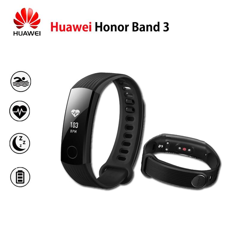 New Original Huawei Honor 3 Banda Inteligente Pulseira Swimmable 5ATM Touchpad Tela OLED Monitor de Freqüência Cardíaca Contínua Empurre Mensagem