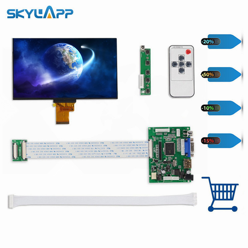 Skylarpu 1024*600 IPS Screen Display LCD TFT Monitor EJ070NA-01J with Remote Driver Control Board 2AV HDMI VGA for Raspberry Pi