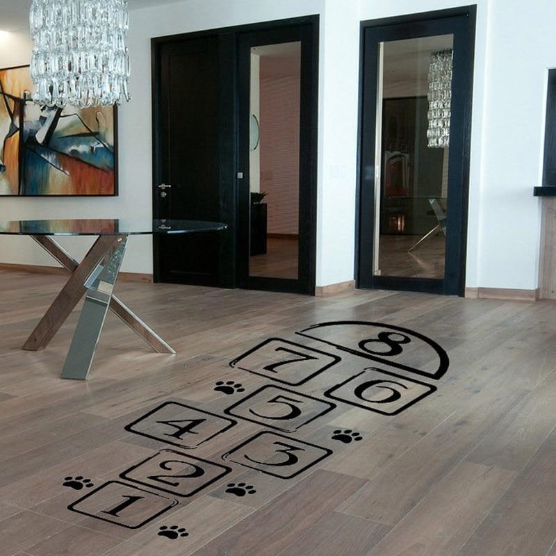 Personalizirane talne nalepke Družinska igra Spomini na otroštvo Nalepka Skok Plaid igriv Hopscotch Otroška soba Dekoracija Wall Art
