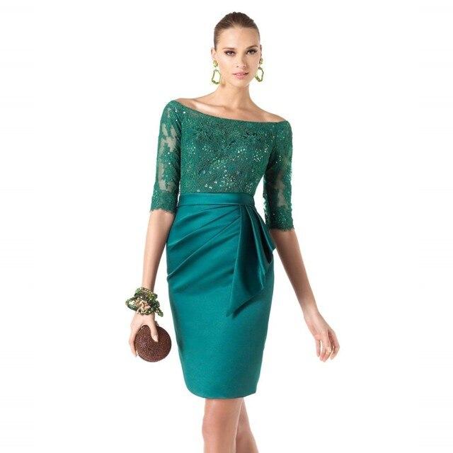 Off The Shoulder Scoop Ausschnitt Kurze Spitze Emerald Cocktailkleid ...