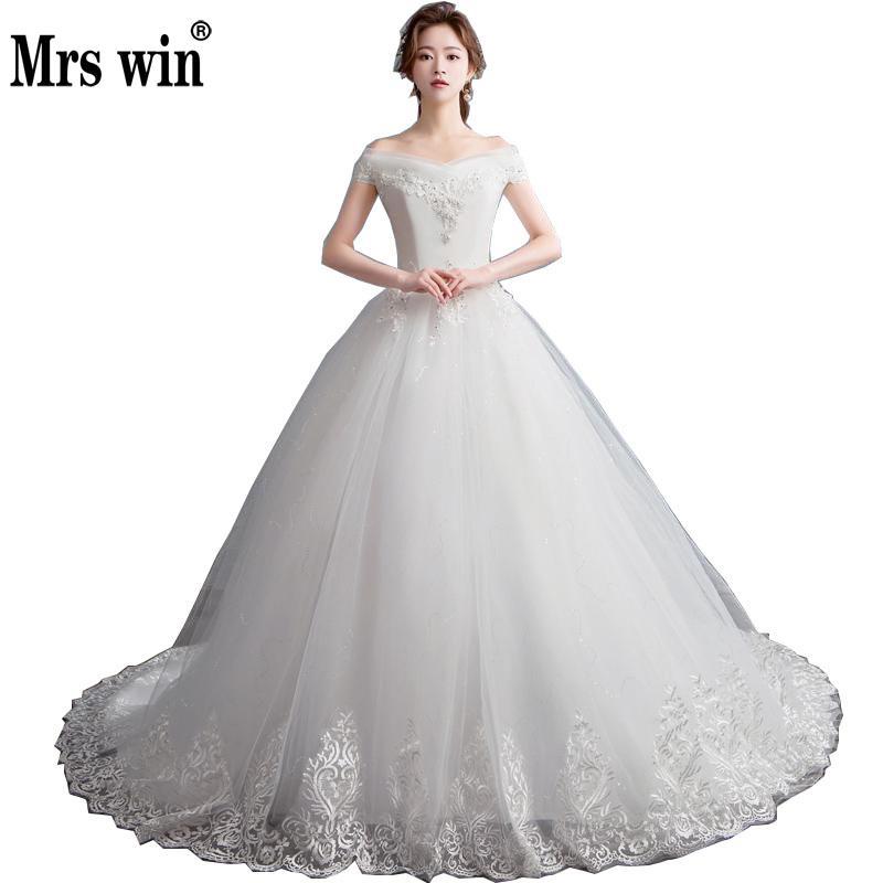 2019 New Mrs Win Boat Neck Robe De Mariee Grande Taille Ball Gown Princess Vestido De