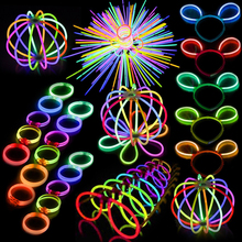 цена на 20pcs Light Stick Funny Glow Stick Toys Glow in the Dark Party Luminous Hairpin Glasses Bracelet Creative Toy For Birthday Gifts