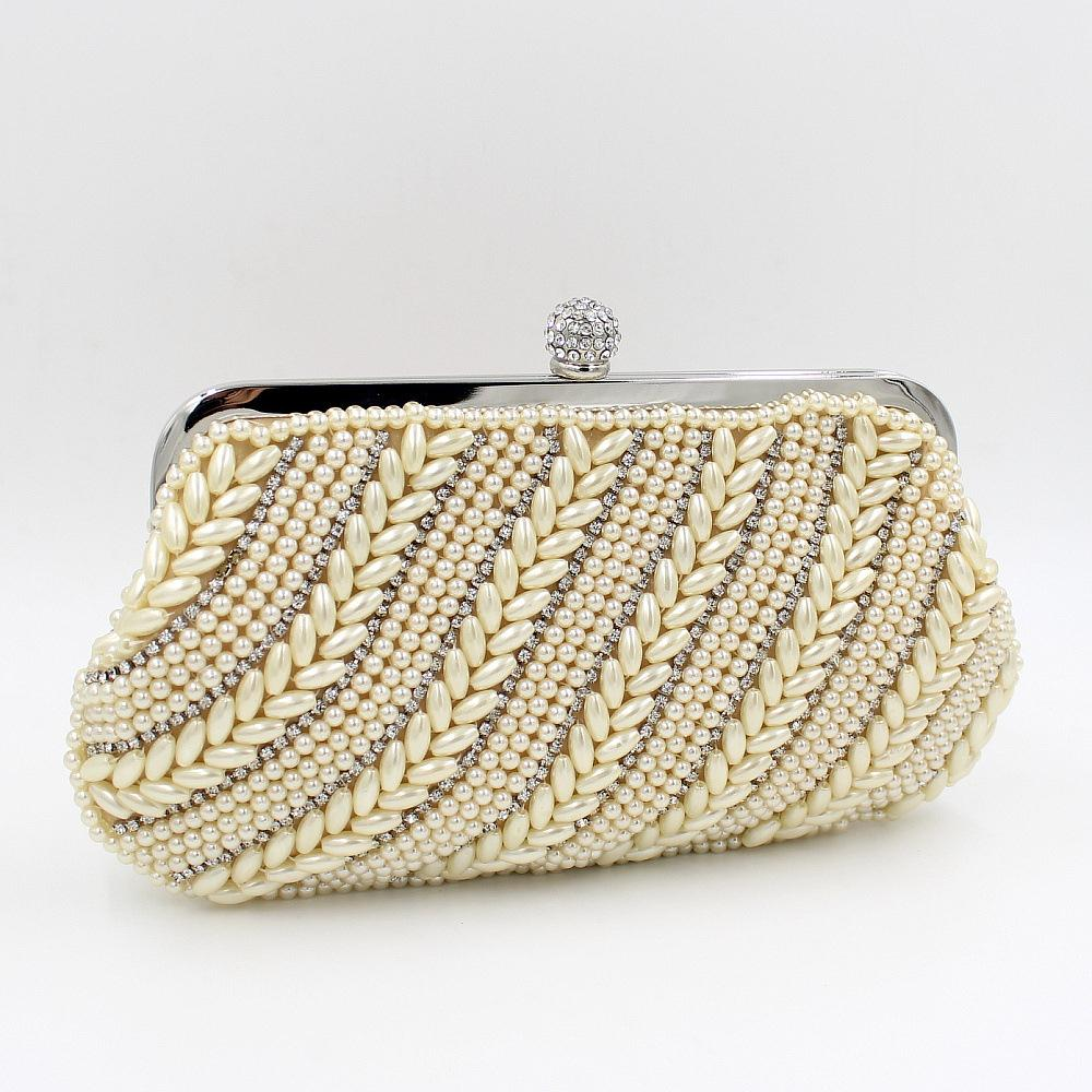 New Pearl Bag Beaded Evening Bags Imitation Pearls Beads Clutch Handbag  with Chain Lovely Pouch Purse 2Color Wholesale B159-in Evening Bags from  Luggage ...