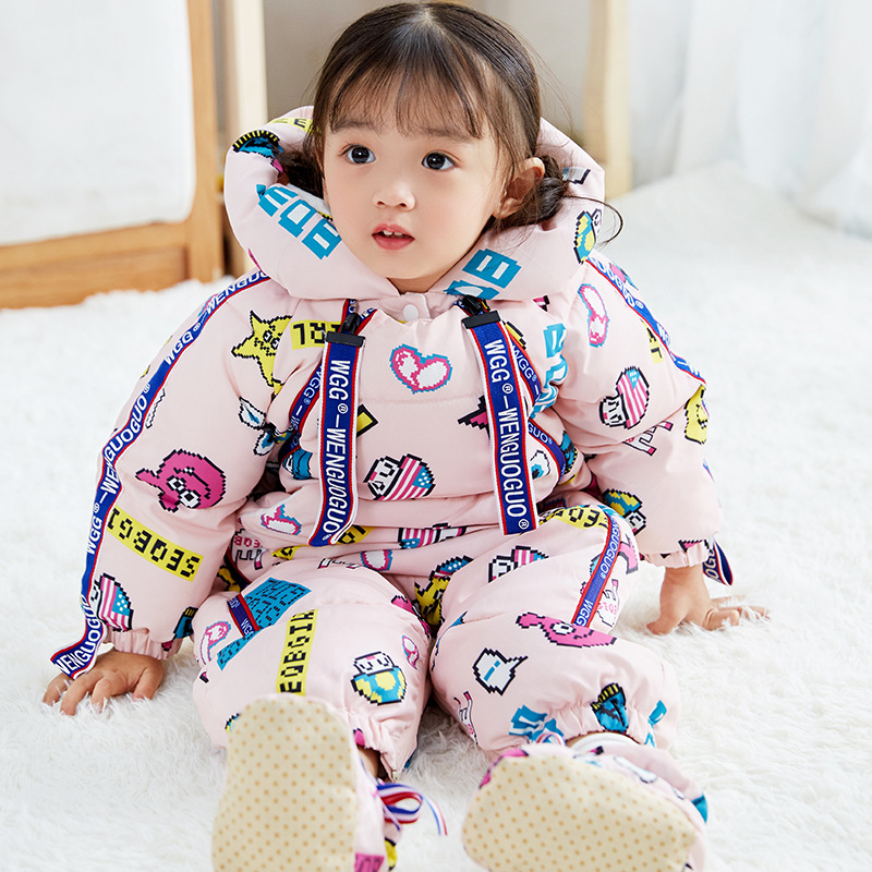 Newborn Snowsuit Baby Snow Coveralls Infant Fleece Jumpsuit Girls Outerwear Romper Girl Floral Winter Jacket Princess Hoodie paul frank baby boys supper julius fleece hoodie