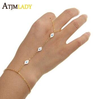 3 ألوان جديدة صغيرة لطيف عين الشر سحر الأبيض المينا مجوهرات الأزياء 16 + 5 سنتيمتر المعصم الطفل مجوهرات سوار لليد ، الرقيق أساور