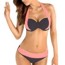 Women Push Up Padded Bra Bandeau Low Waist Bikini Swimwear Swimsuit Plus Size Patchwork Summer Beach Split Swimsuit Bikini