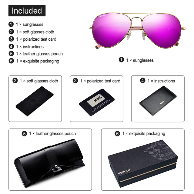 VEGOOS Aviation Mirrored Sunglasses Women Vintage Polarized UV400 Protection Fashion Metal Frame Driving Sun Glasses Pink #3025W 10