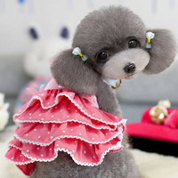 Cute Pet Cat Dress Puppy Dog Clothes Summer Vestidos Wedding Dog Dresses Lace Costume Princess Roupa Pink Pet Supplies 70P0018