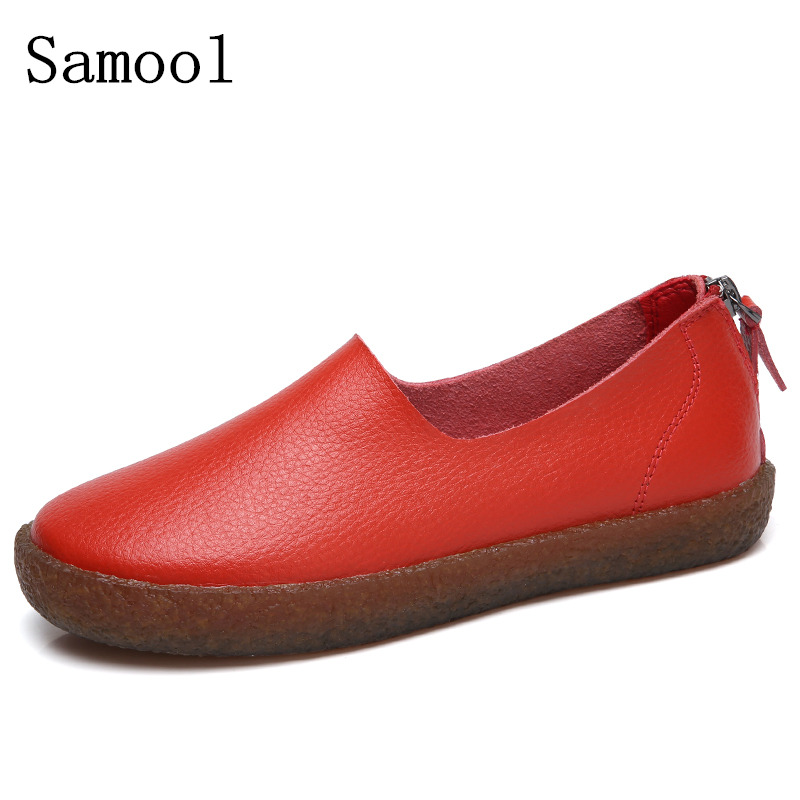 Shoes Woman Leather Women Shoes Flats Colors footwear Loafers Slip On Women's Flat Shoes Moccasins big Size Zapatos Mujer AK3 new shallow slip on women loafers flats round toe fishermen shoes female good leather lazy flat women casual shoes zapatos mujer